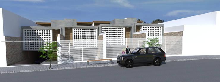 Fachadas com Cobogós e  Vidro: Casas geminadas  por Thiago Lima Arquiteto