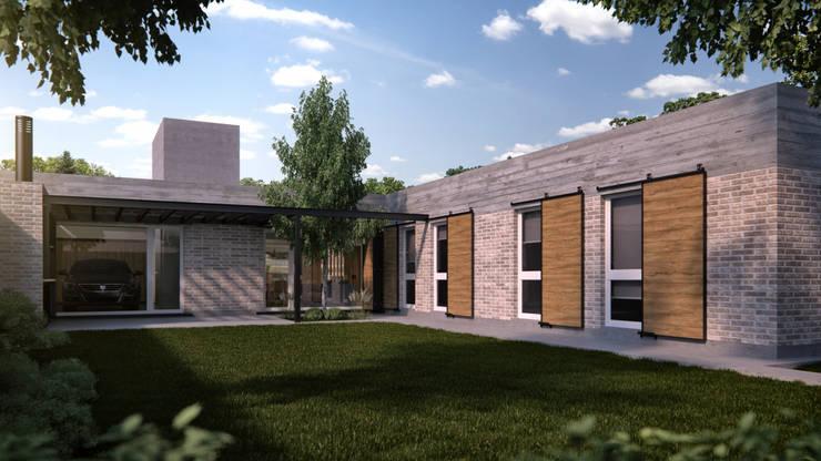 Patio - Contrafachada: Casas unifamiliares de estilo  por WE ARQUITECTURA,