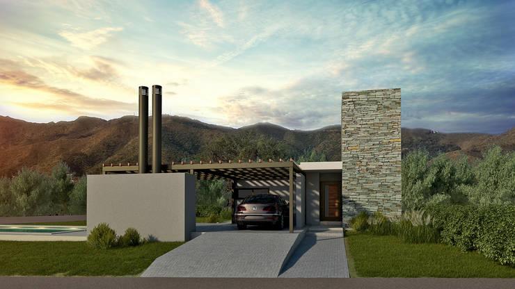 Fachada 1era Etapa: Casas unifamiliares de estilo  por WE ARQUITECTURA