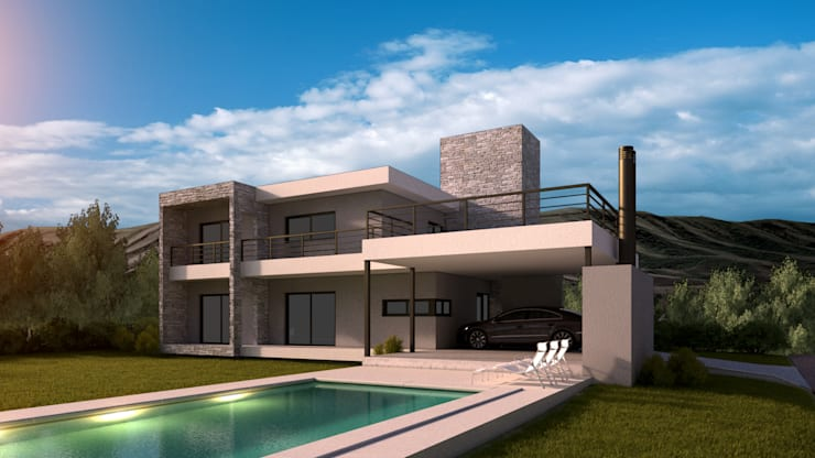 Contra - Fachada 1era Etapa: Casas unifamiliares de estilo  por WE ARQUITECTURA