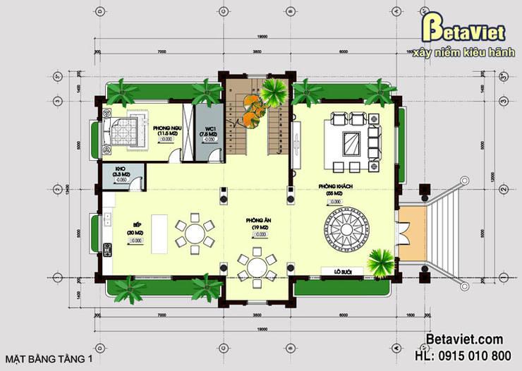 Mặt bằng tâng 1 mẫu thiết kế dinh thự Cổ điển 3 tầng hoành tráng (CĐT: Ông Dương - Lai Châu) BT15001:   by Công Ty CP Kiến Trúc và Xây Dựng Betaviet