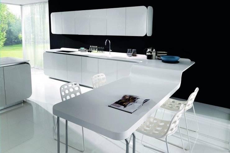 Beyaz Corian Tezgah:  Kitchen by KREA Granit- Mutfak Banyo Tezgahları