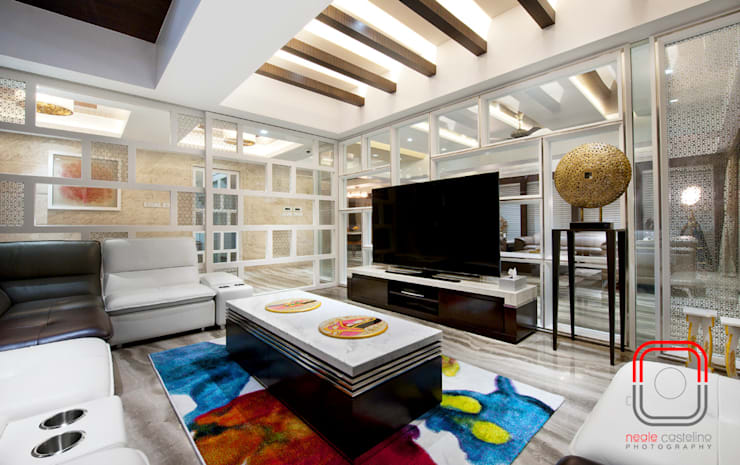 Juhu Residence:  Media room by neale castelino Photography