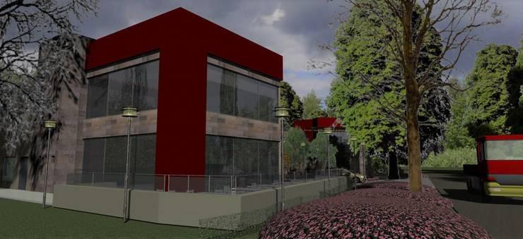 Detalle esquina resto.: Galerías y espacios comerciales de estilo  por MOLEarquitectura,