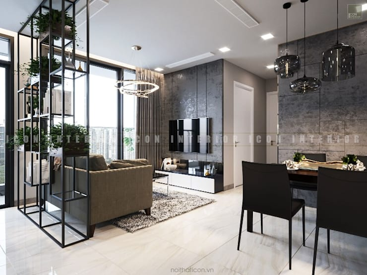 Aqua 3 Vinhomes Golden River – Phong cách hiện đại:  Phòng khách by ICON INTERIOR