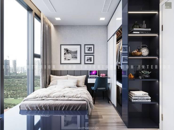 Aqua 3 Vinhomes Golden River – Phong cách hiện đại:  Phòng ngủ by ICON INTERIOR