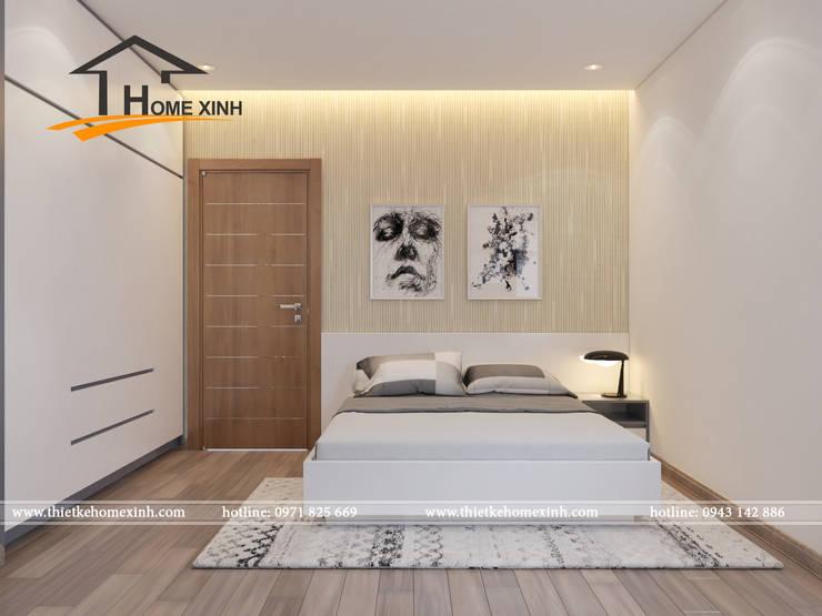 Thiết kế nội thất chung cư Golden West 96m2 nhà anh Hải:  Phòng ngủ by THIẾT KẾ HOMEXINH