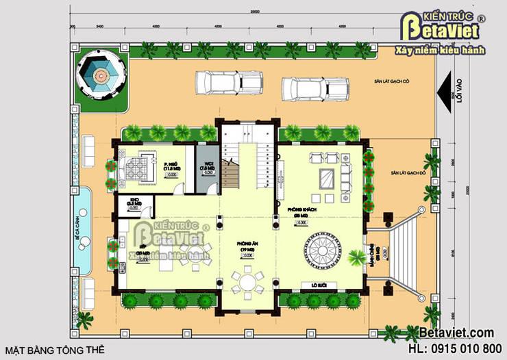 Mặt bằng tầng 1 mẫu thiết kế dinh thự đẹp 3 tầng đẹp phong cách Cổ điển (CĐT: Ông Bình - Hà Nam):   by Công Ty CP Kiến Trúc và Xây Dựng Betaviet