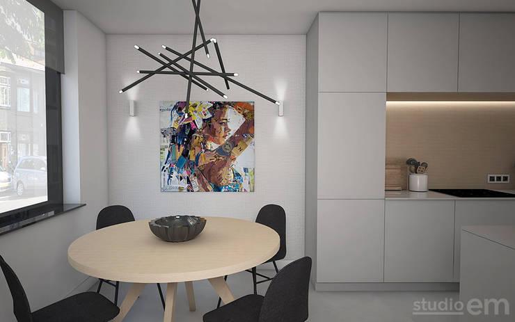 Interieurontwerp 3D impressie eetkamer en keuken:  Eetkamer door Studio-em, Minimalistisch
