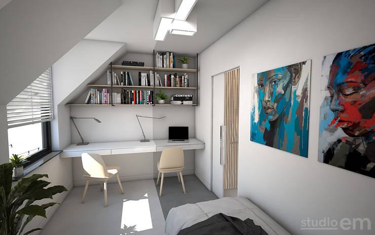 Interieurontwerp 3D impressie werkkamer:  Studeerkamer/kantoor door Studio-em, Minimalistisch