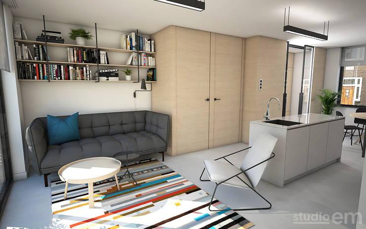 Interieurontwerp 3D impressie woonkamer, multiplex en gietvloer:  Woonkamer door Studio-em, Minimalistisch