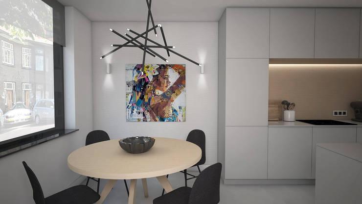Woonhuis in Leiden. Klein huis, groots aangepakt.:  Eetkamer door Studio-em, Minimalistisch