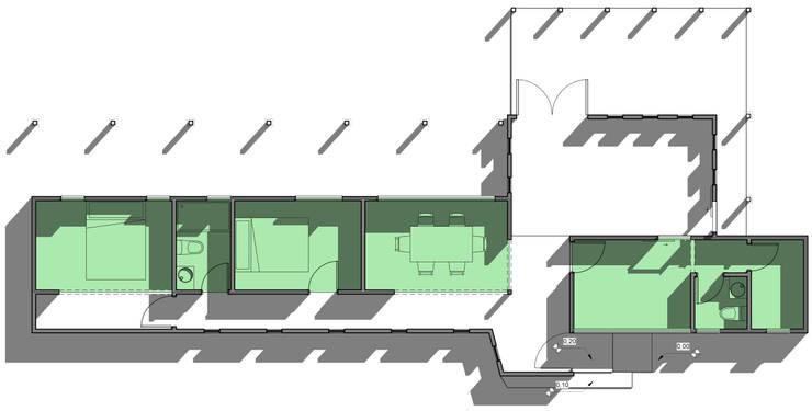 Planta: Casas unifamiliares de estilo  por BIM Urbano,