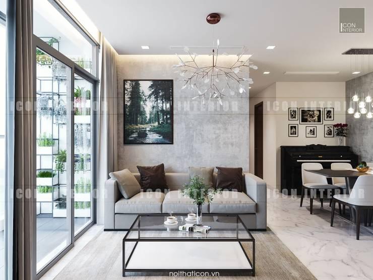 Thiết kế nội thất căn hộ Vinhomes Central Park Tân Cảng :  Phòng khách by ICON INTERIOR