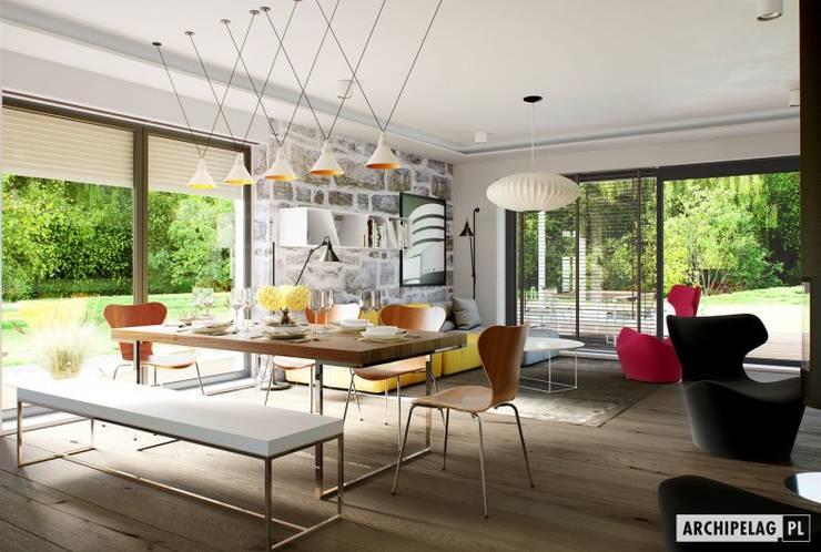 Sam II G2 ENERGO PLUS – nowoczesny dom z otwartą strefą dzienną i dwoma tarasami : styl , w kategorii Salon zaprojektowany przez Pracownia Projektowa ARCHIPELAG