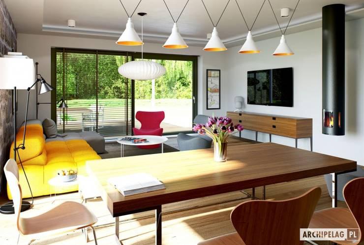 Sam II G2 ENERGO PLUS – nowoczesny dom z otwartą strefą dzienną i dwoma tarasami : styl , w kategorii Jadalnia zaprojektowany przez Pracownia Projektowa ARCHIPELAG