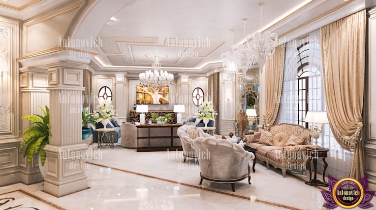 ​Amazing home designs New York by Katrina Antonovich:  Living room by Luxury Antonovich Design, Classic