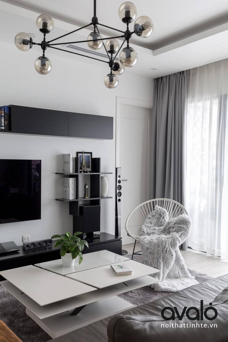 Căn hộ phong cách Avalo Đương Đại:  Phòng khách by Công ty cổ phần NỘI THẤT AVALO