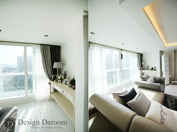 광장동 현대홈타운 53평형 거실: Design Daroom 디자인다룸의  거실,모던