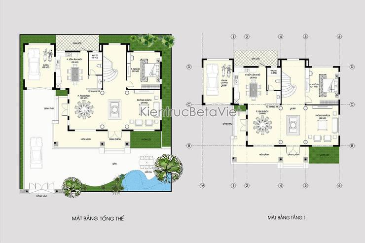 Mặt bằng tầng 1 mẫu thiết kế biệt thự đẹp 3 tầng Hiện đại (CĐT: Ông Hữu - Vĩnh Phúc) BT16020:   by Công Ty CP Kiến Trúc và Xây Dựng Betaviet