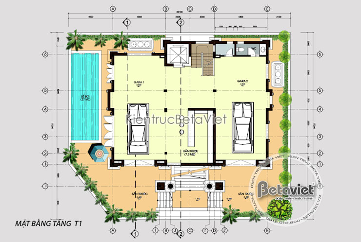 Mặt bằng tầng trệt phối cảnh mẫu thiết kế biệt thự đẹp 3 tầng Cổ điển (CĐT: Ông Mạnh - Hà Nội) KT16019:   by Công Ty CP Kiến Trúc và Xây Dựng Betaviet