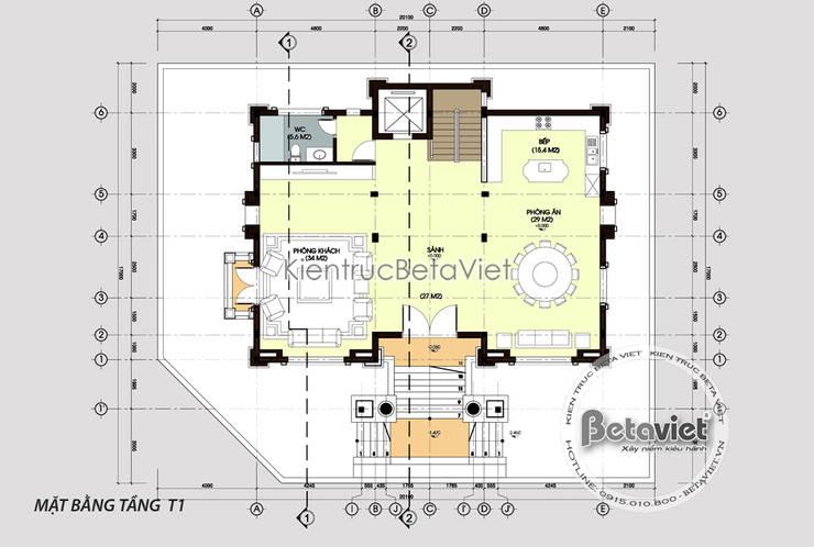 Mặt bằng tầng 1 mẫu thiết kế biệt thự đẹp 3 tầng Cổ điển (CĐT: Ông Mạnh - Hà Nội) KT16019:   by Công Ty CP Kiến Trúc và Xây Dựng Betaviet