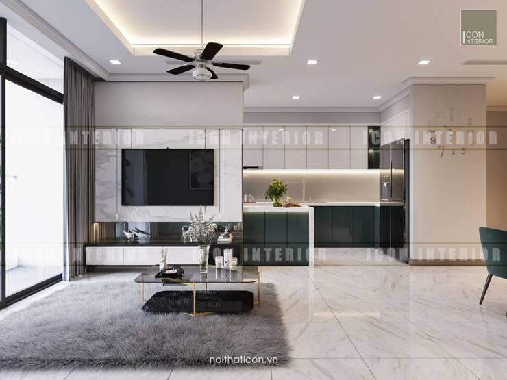 Thiết kế nội thất cao cấp dành cho căn hộ Vinhomes Central Park:  Phòng khách by ICON INTERIOR