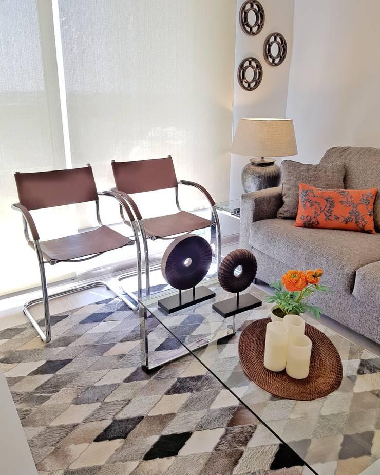 Living comedor 28 m2: Livings de estilo  por Oscar Saavedra Diseño y Decoración Spa