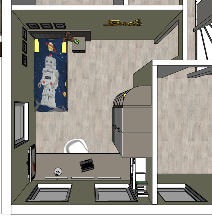 plattegrond van kinderkamer met kast en bureau op maat: modern  door Stefania Rastellino interior design, Modern