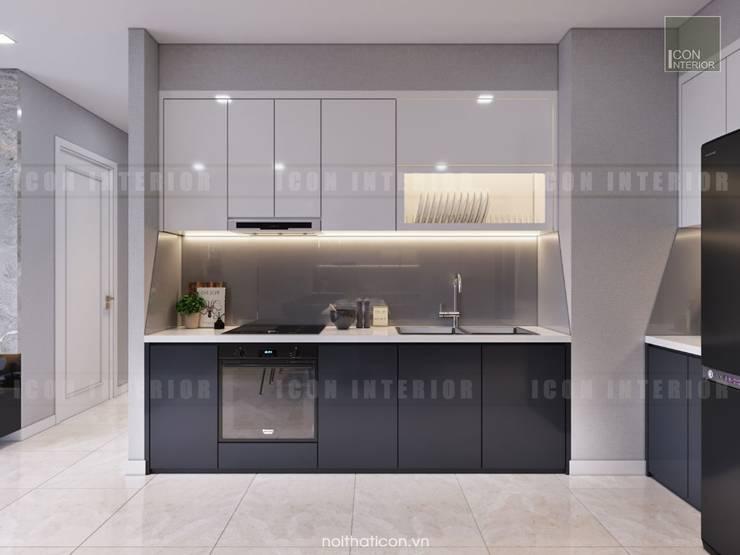 Thiết kế nội thất phong cách Châu Âu hiện đại cho căn hộ Landmark 5 Vinhomes Central Park:  Nhà bếp by ICON INTERIOR