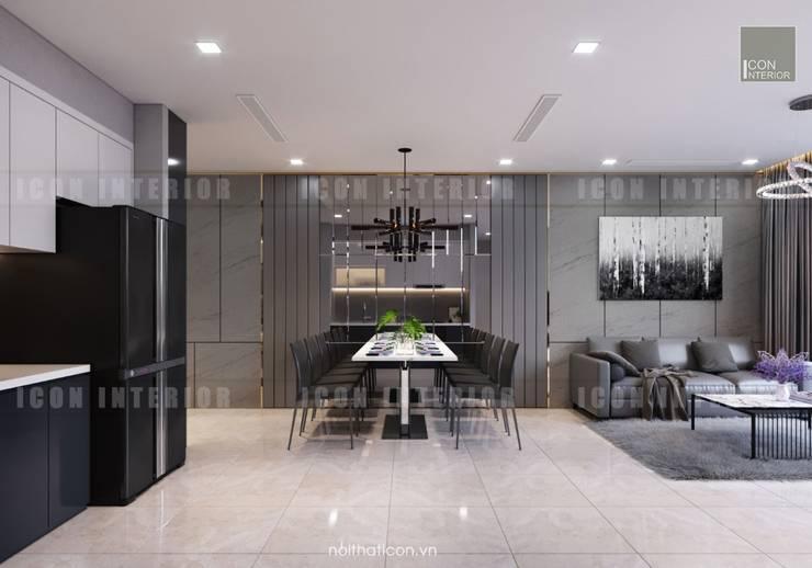 Thiết kế nội thất phong cách Châu Âu hiện đại cho căn hộ Landmark 5 Vinhomes Central Park:  Phòng ăn by ICON INTERIOR