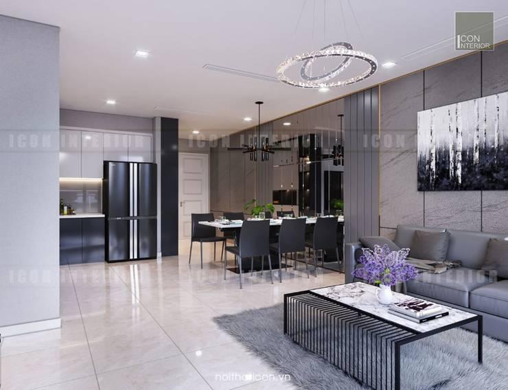 Thiết kế nội thất phong cách Châu Âu hiện đại cho căn hộ Landmark 5 Vinhomes Central Park:  Phòng khách by ICON INTERIOR