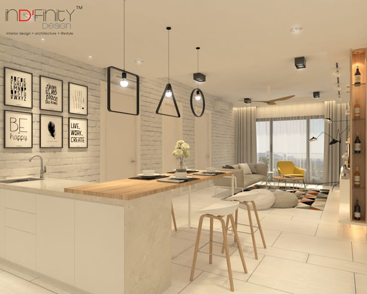Scandinavian Design . Condominium:  Living room by inDfinity Design (M) SDN BHD
