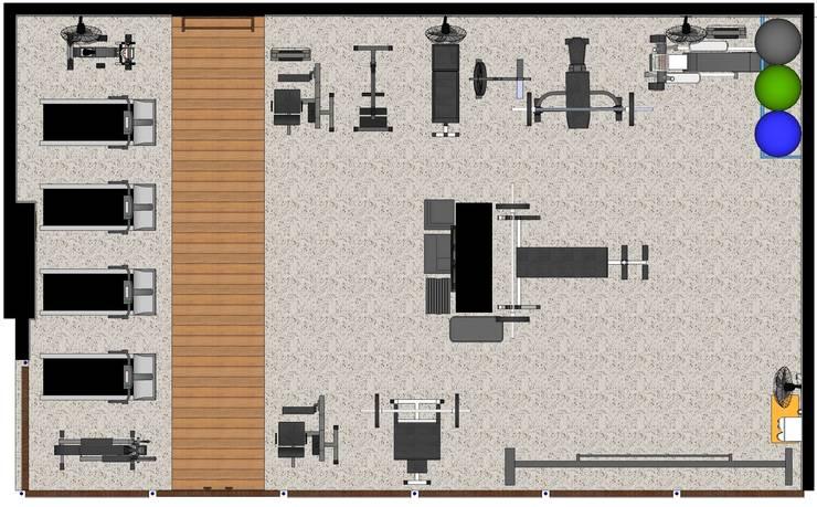 Planta Baixa Academia: Fitness  por Joana Rezende Arquitetura e Arte