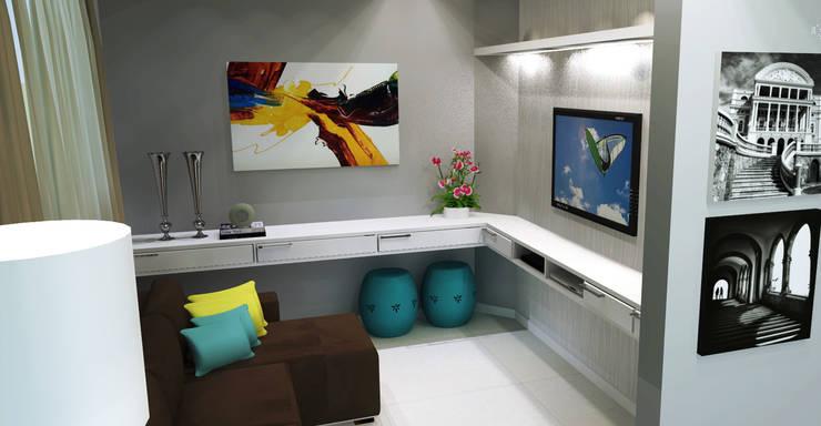 Sala de TV:   por Joana Rezende Arquitetura e Arte