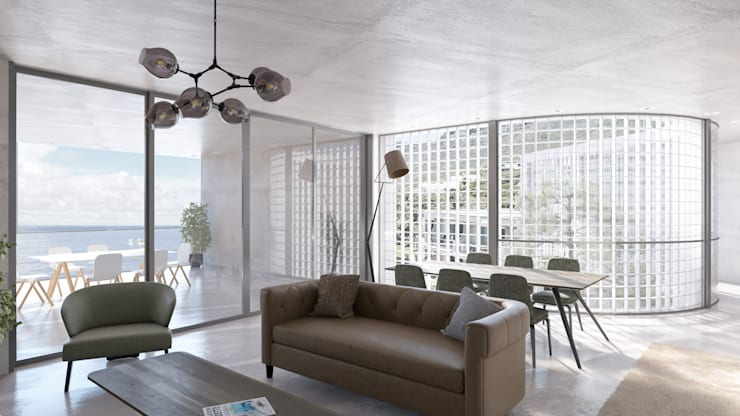 Living Space 2:  Living room by 7Storeys, Minimalist