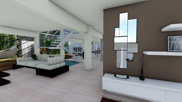 Diseño interior: Salas / recibidores de estilo moderno por Vida Arquitectura