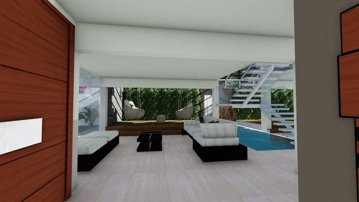 Espejo de agua y pared vegetal: Paredes de estilo  por Vida Arquitectura