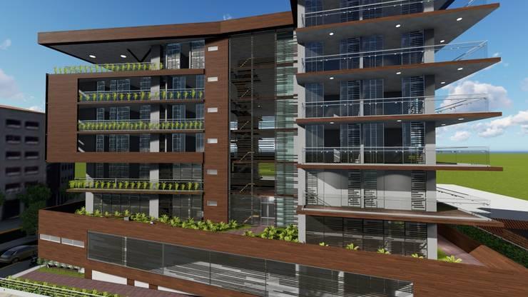 Fachada posterior: Casas multifamiliares de estilo  por Vida Arquitectura