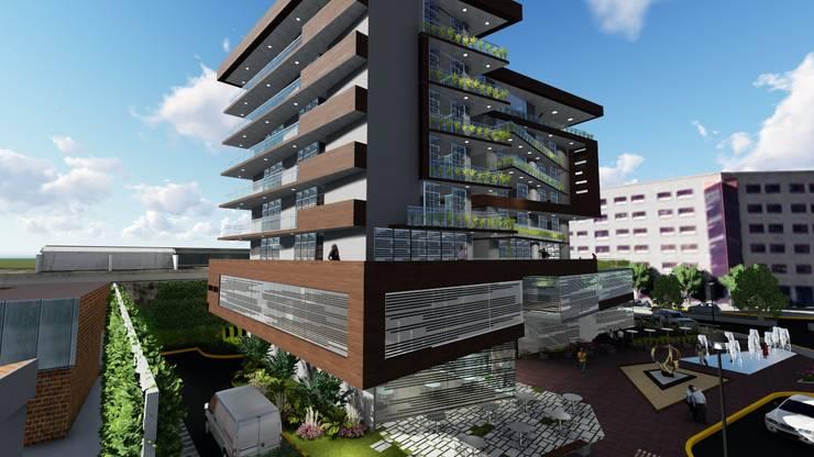 Fachada Oeste: Casas multifamiliares de estilo  por Vida Arquitectura