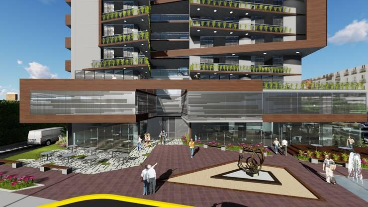 Fachada principal- acceso comercial: Casas multifamiliares de estilo  por Vida Arquitectura