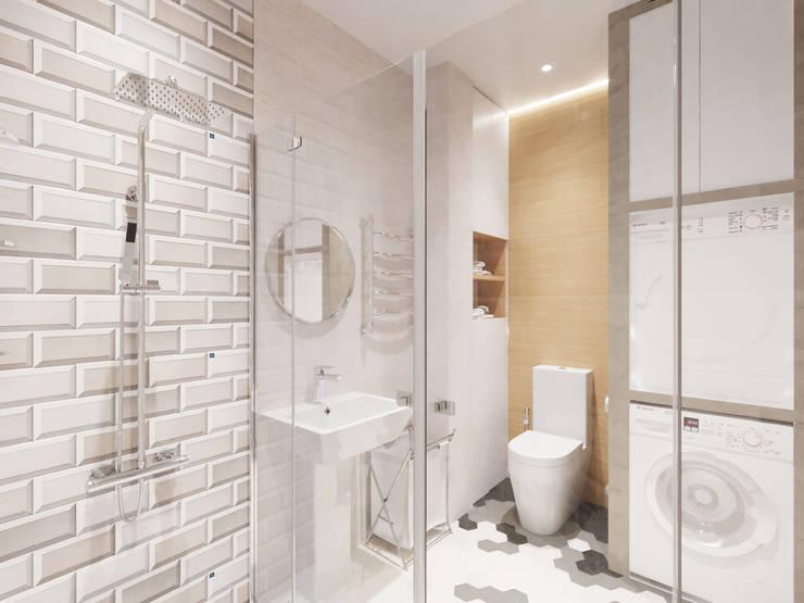 Четырехкомнатная квартира в ЖК 4 сезона: Ванные комнаты в . Автор – Гузалия Шамсутдинова   KUB STUDIO