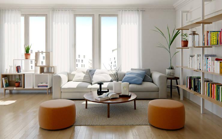 Renders de Interiores: Livings de estilo  por Valantia Studio