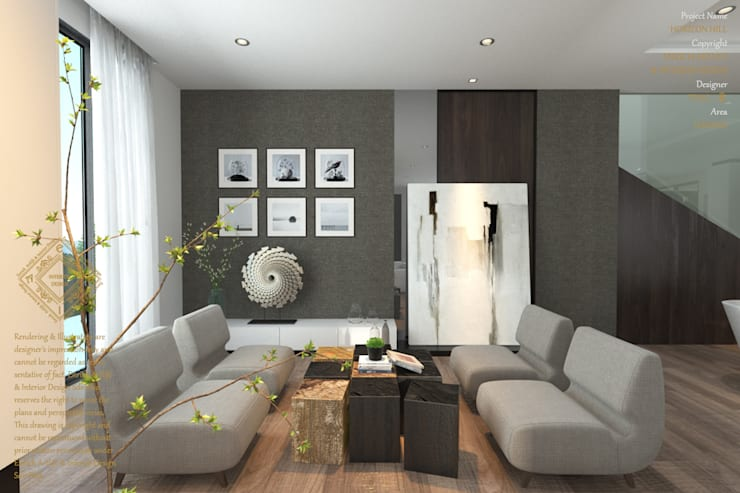 Lounge area:  Living room by Enrich Artlife & Interior Design Sdn Bhd