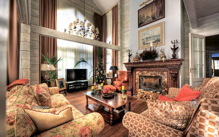 Роскошная уютная гостиная со вторым светом: Гостиная в . Автор – LUMI POLAR