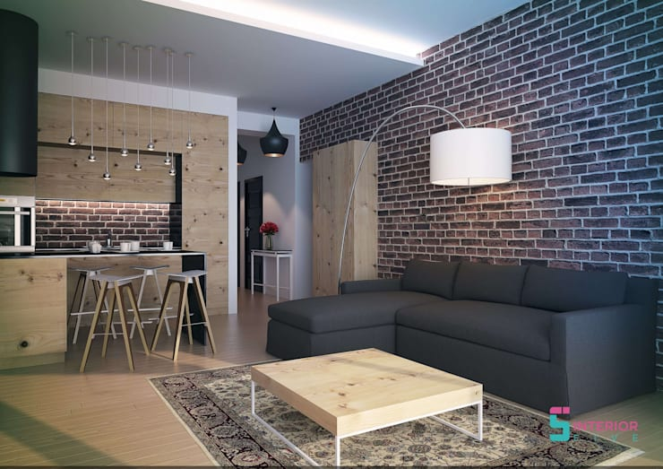 Brick Walls and Wooden fittings: modern Living room by Interior Five