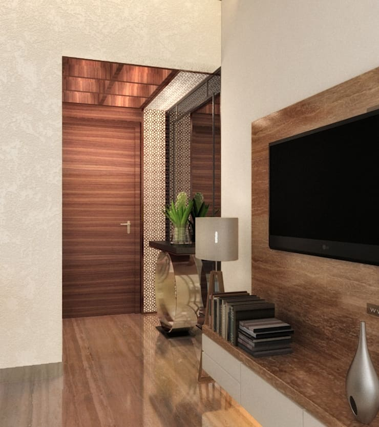 ENTRANCE AREA - 2 BHK AT CHANDIVALI:  Living room by A Design Studio,Modern Wood Wood effect