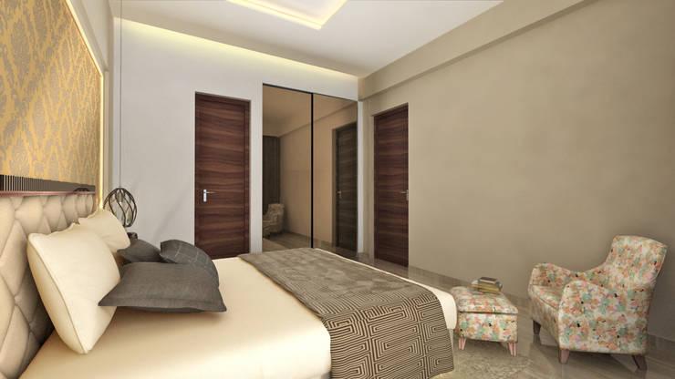 MASTER BEDROOM:  Bedroom by A Design Studio,Modern Glass