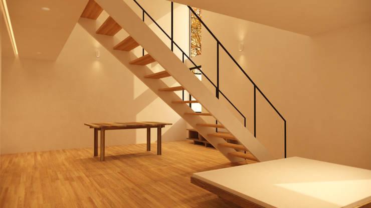 1,2층을 잇는 중앙 계단과 양측에 균형있게 배치된 가구이미지: ARA의  계단
