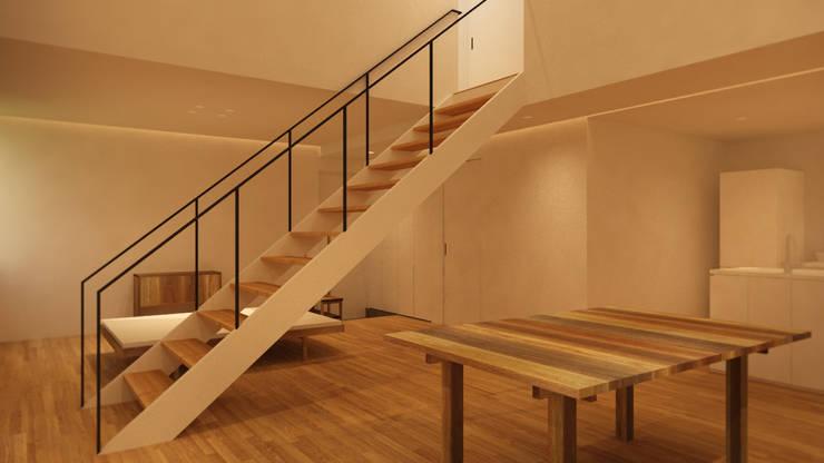 중앙 계단과 가구배치 반대편 퍼스펙티브 뷰: ARA의  거실